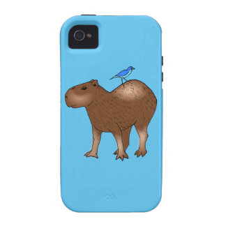 Cartoon Capybara with Blue Bird on Its Back iPhone 4/4S Covers