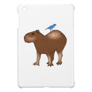Cartoon Capybara with Blue Bird on Its Back iPad Mini Case