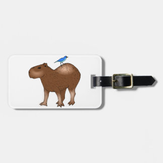 Cartoon Capybara with Blue Bird on Its Back Luggage Tag