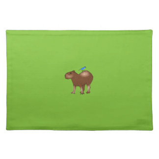 Cartoon Capybara with Blue Bird on Its Back Cloth Placemat