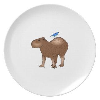 Cartoon Capybara with Blue Bird on Its Back Dinner Plates