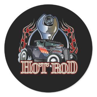 Cartoon car classic round sticker