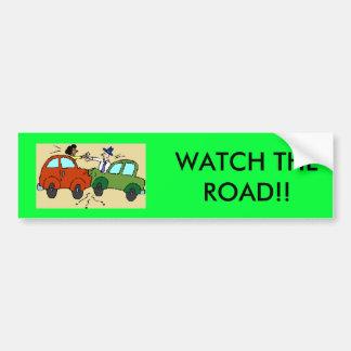 cartoon-car-crash WATCH THE ROAD Bumper Stickers