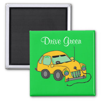 Cartoon Car Drive Green Magnet