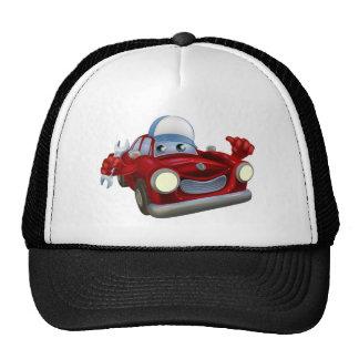 Cartoon car mechanic character trucker hat