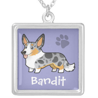 Cartoon Cardigan Welsh Corgi (add your pets name) Square Pendant Necklace