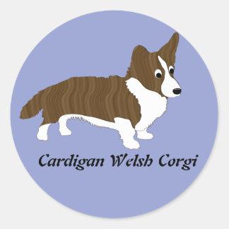 Cartoon Cardigan Welsh Corgi Brindle Round Sticker