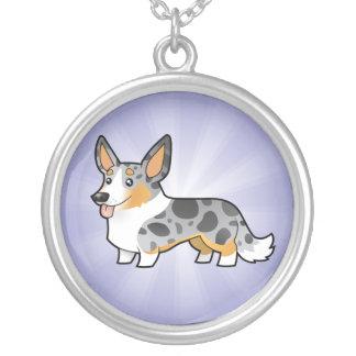 Cartoon Cardigan Welsh Corgi Silver Plated Necklace