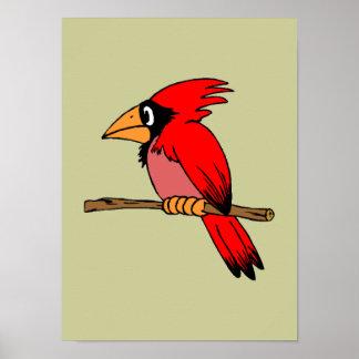 Cartoon Cardinal Poster