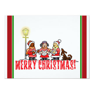 Cartoon Carolers sing Merry Christmas 6.5x8.75 Paper Invitation Card