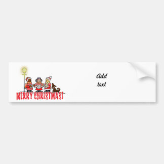 Cartoon Carolers sing Merry Christmas Car Bumper Sticker