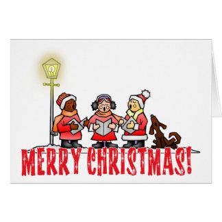 Cartoon Carolers sing Merry Christmas Card