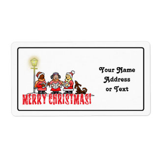 Cartoon Carolers sing Merry Christmas Shipping Label