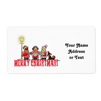 Cartoon Carolers sing Merry Christmas Shipping Labels