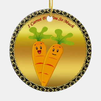 Cartoon carrots with big eyes and a smile to go ceramic ornament