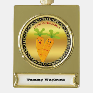 Cartoon carrots with big eyes and a smile to go gold plated banner ornament