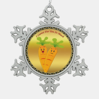 Cartoon carrots with big eyes and a smile to go snowflake pewter christmas ornament