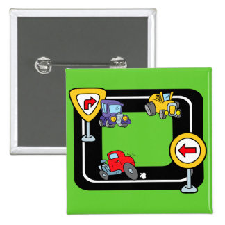 Cartoon Cars on a Race Track Pinback Buttons