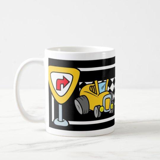 Cartoon Cars on a Race Track Coffee Mug
