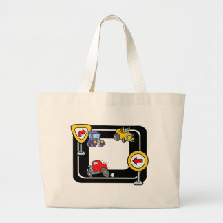 Cartoon Cars on a Race Track Large Tote Bag
