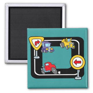 Cartoon Cars on a Race Track Magnet