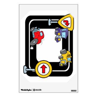 Cartoon Cars on a Race Track Wall Sticker