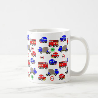 Cartoon Cars Trucks Fire Engines Cute Design Coffee Mug