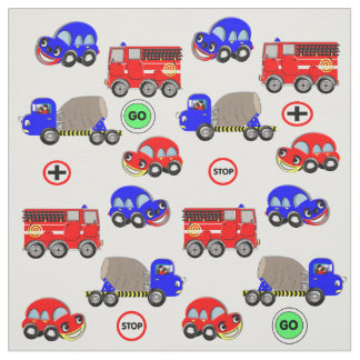 Cartoon Cars Trucks Fire Engines Cute Design Fabric