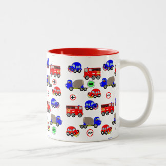 Cartoon Cars Trucks Fire Engines Cute Design Two-Tone Coffee Mug
