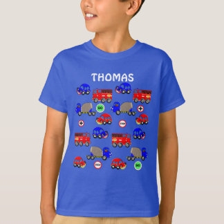 Cartoon Cars Trucks Fire Engines Cute Personalized T-Shirt