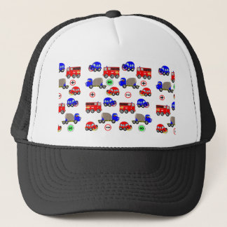 Cartoon Cars Trucks Fire Engines Cute Personalized Trucker Hat