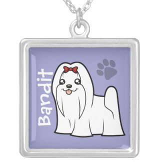 Cartoon Cartoon Maltese (show cut) (add pets name) Silver Plated Necklace