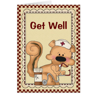 Cartoon Cartoon Squirrel Get Well Card