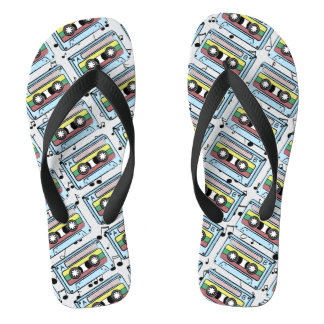 Cartoon Cassette Tape & Music Notes (Double Sided) Flip Flops