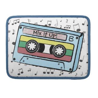 Cartoon Cassette Tape & Music Notes -Mix It Up A&B MacBook Pro Sleeve