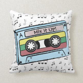 Cartoon Cassette Tape U0026amp; Music Notes  Mix It Up Au0026amp;B Throw Pillow