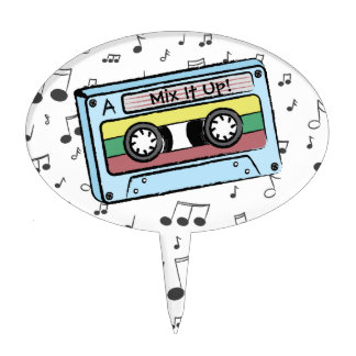 Cartoon Cassette Tape & Music Notes (Mix It Up) Cake Topper