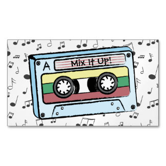 Cartoon Cassette Tape & Music Notes (Mix It Up) Magnetic Business Card