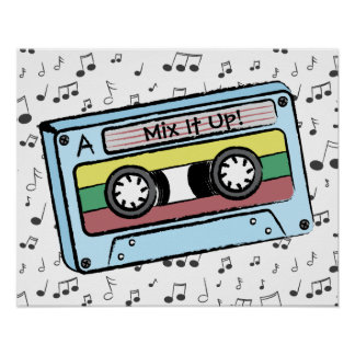Cartoon Cassette Tape & Music Notes (Mix It Up) Poster