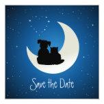 "Cartoon Cat and Dog - Save the Date invitation 5.25"" Square Invitation Card"