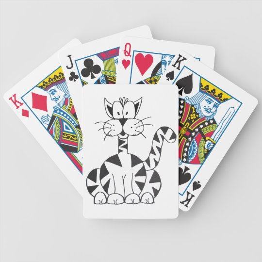 Cartoon Cat Bicycle Playing Cards