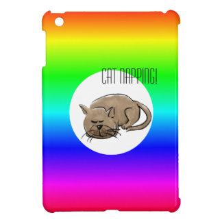 Cartoon cat -cat napping! on multi-colored iPad mini case