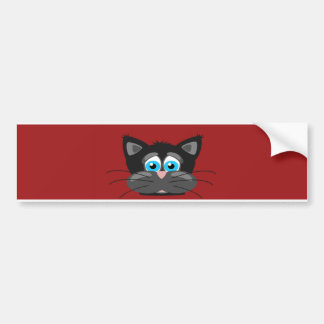 Cartoon Cat Close Up Bumper Sticker