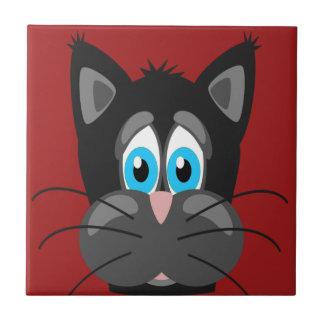 Cartoon Cat Close Up Ceramic Tile
