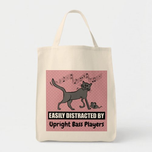Cartoon Cat Distracted by Upright Bass Players Grocery Tote Bag