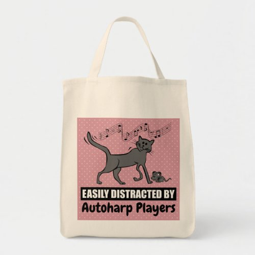 Cartoon Cat Easily Distracted by Autoharp Players Grocery Tote Bag