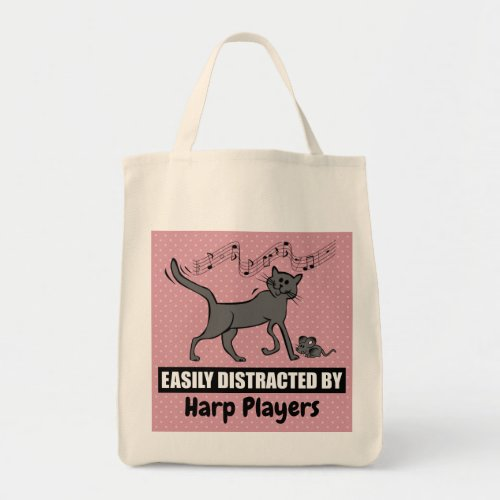 Cartoon Cat Easily Distracted by Harp Players Grocery Tote Bag