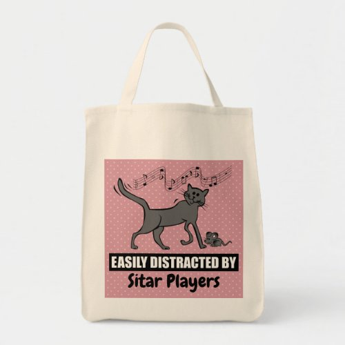 Cartoon Cat Easily Distracted by Sitar Players Grocery Tote Bag