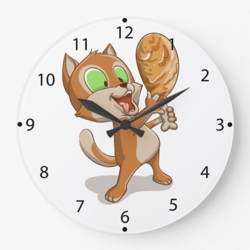 Cartoon cat eating a chicken leg large clock