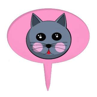 Cartoon Cat Face Cake Pick